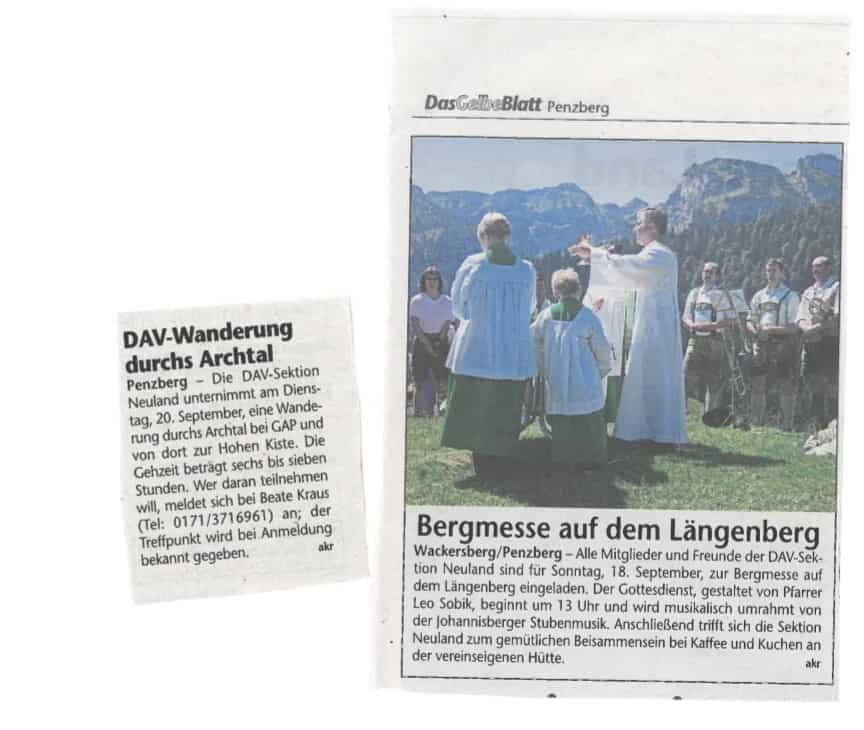 Gelbes Blatt: Ankündigungen Bergmesse, Wanderung Archtal